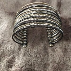 Bracelet gold silver and black faux